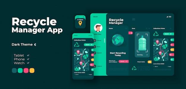 Plantilla de diseño adaptable de la pantalla de la aplicación del gestor de eliminación de residuos