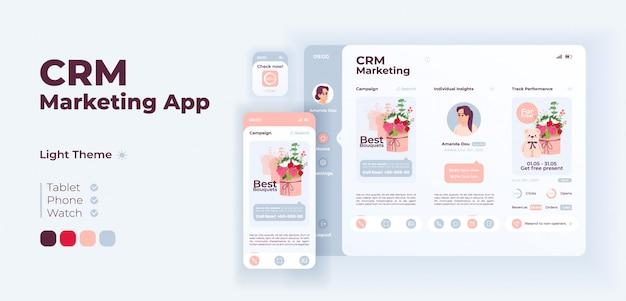 Plantilla de diseño adaptable de vector de pantalla de aplicación de marketing crm
