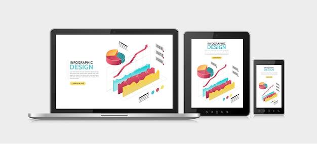 Plantilla de diseño adaptativo de infografía isométrica