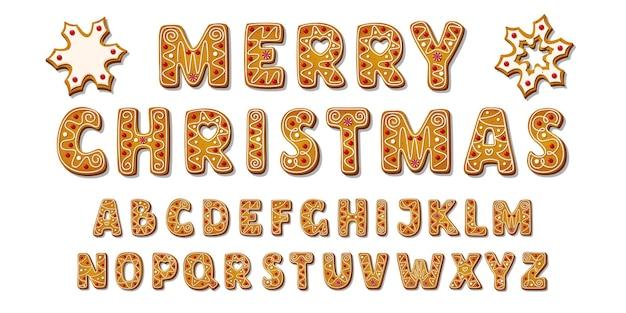 Plantilla de diseño de alfabeto de textura de galleta de jengibre