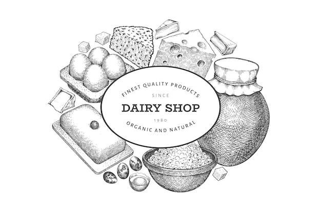 Plantilla de diseño de alimentos de granja. ilustración de lácteos de vector dibujado a mano. bandera de huevos y productos lácteos diferentes de estilo grabado. fondo de comida retro.