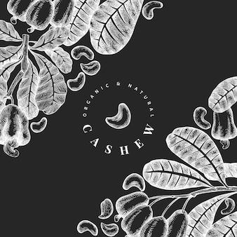 Plantilla de diseño de anacardo boceto dibujado a mano.