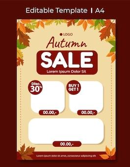 Plantilla de diseño de anuncio publicitario de catálogo tema editable de hojas de otoño