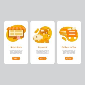 Plantilla de diseño de aplicaciones móviles de comercio electrónico