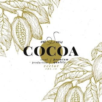 Plantilla de diseño de árbol de cacao en grano. fondo de los granos de cacao del chocolate.