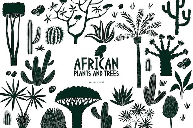 Plantilla de diseño de árboles y plantas africanas dibujado a mano divertido