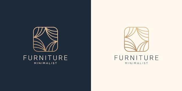 Plantilla de diseño de arte de línea de logotipo interior minimalista de muebles creativos