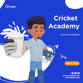Plantilla de diseño de banner de la academia de cricket