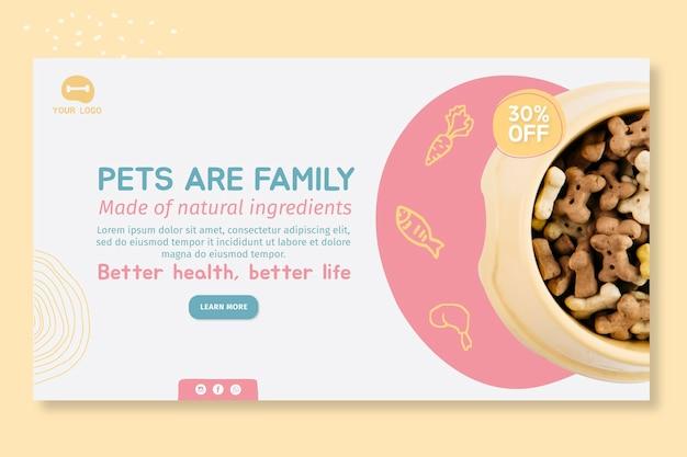 Plantilla de diseño de banner de alimentos para animales