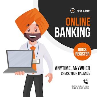 Plantilla de diseño de banner de banca en línea con hombre mostrando portátil