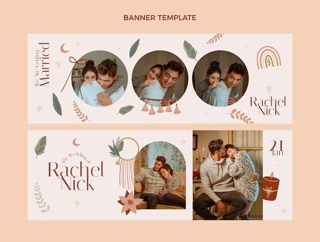 Plantilla de diseño de banner de boda