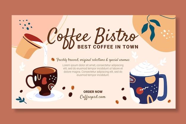 Plantilla de diseño de banner de café con deliciosas bebidas