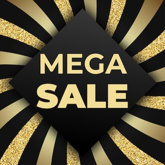 Plantilla de diseño de banner comercial de mega venta con brillo brillante y rayas doradas sobre fondo negro. ilustración para folleto, cartel, descuento, web
