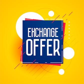 Plantilla de diseño de banner de descuento de oferta de intercambio