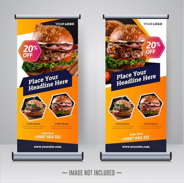 Plantilla de diseño de banner enrollable de comida y restaurante