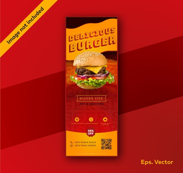 Plantilla de diseño de banner enrollable de restaurante hambuger
