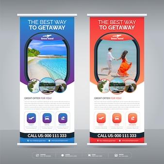 Plantilla de diseño de banner enrollable de viajes y turismo