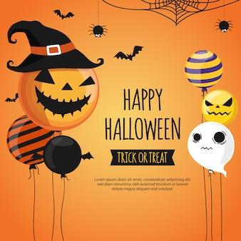 Plantilla de diseño de banner de feliz halloween.