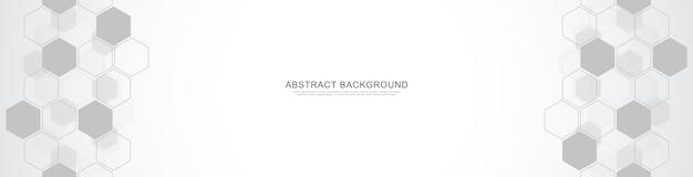Plantilla de diseño de banner. fondo abstracto con formas geométricas y patrón hexagonal.