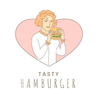 Plantilla de diseño de banner de hamburguesa sabrosa. mujer que come la ilustración del esquema de la historieta de la comida rápida.