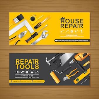Plantilla de diseño de banner de herramientas de construcción