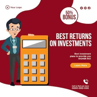 Plantilla de diseño de banner de mejores rendimientos de inversiones