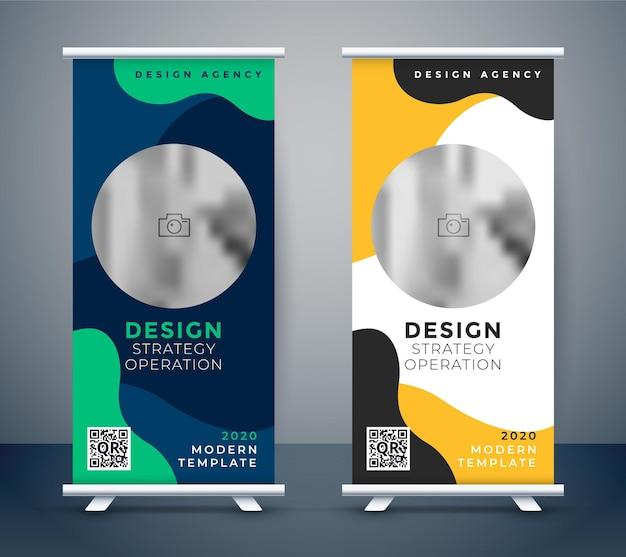 Plantilla de diseño de banner de negocios enrollable creativo