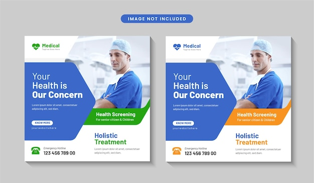 Plantilla de diseño de banner de publicación de redes sociales de atención médica creativa o folleto cuadrado vector premium