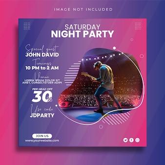 Plantilla de diseño de banner y publicación de redes sociales de fiesta de música