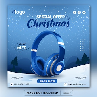 Plantilla de diseño de banner de redes sociales de producto de marca de auriculares navideños o folleto cuadrado