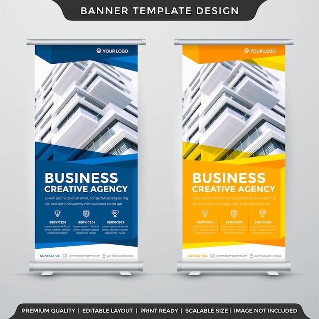 Plantilla de diseño de banner de stand de negocios vector premium