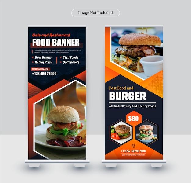 Plantilla de diseño de banner de stand roll up moderno colorido para restaurante y empresa de alimentos