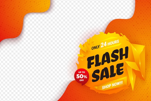Plantilla de diseño de banner de venta flash con color naranja, amarillo y rojo.