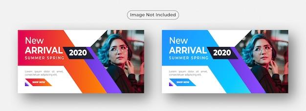 Plantilla de diseño de banner de venta de nueva llegada abstracta naranja y azul