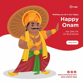 Plantilla de diseño de banner de venta de onam feliz del sur de la india