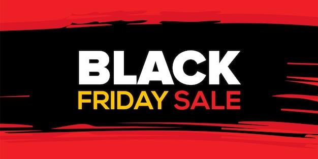 Plantilla de diseño de banner de venta de viernes negro sobre fondo rojo y negro