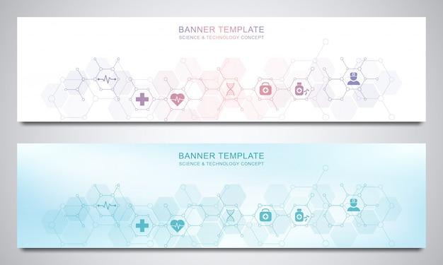 Plantilla de diseño de banners para la decoración médica y sanitaria con iconos y símbolos planos.