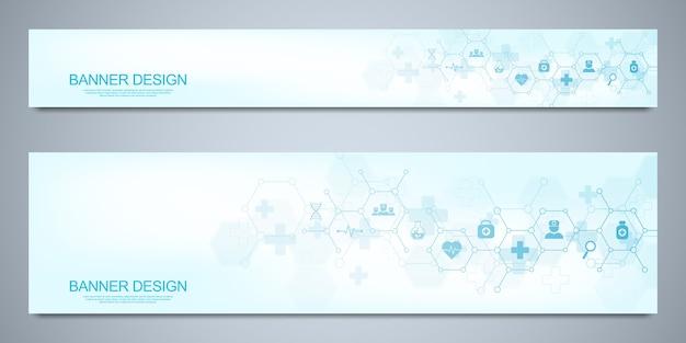 Plantilla de diseño de banners para decoración sanitaria y médica con símbolos planos. concepto de tecnología de ciencia, medicina e innovación.