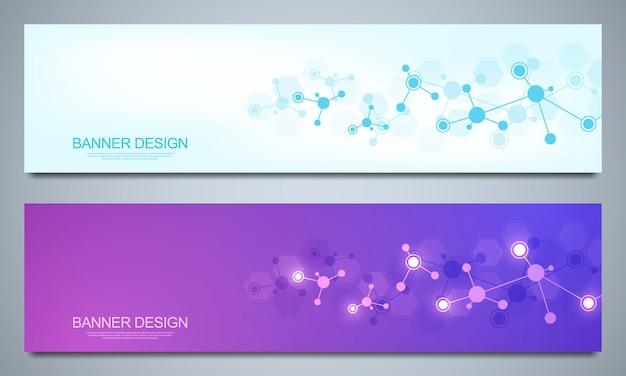Plantilla de diseño de banners con estructuras moleculares y red neuronal. moléculas abstractas y experiencia en ingeniería genética. concepto de tecnología de ciencia e innovación.