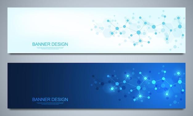 Plantilla de diseño de banners con estructuras moleculares y red neuronal.