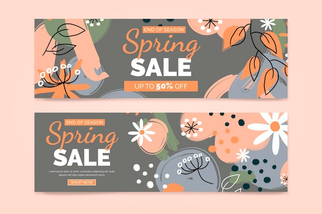Plantilla de diseño de banners florales