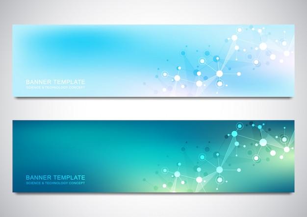 Plantilla de diseño de banners con fondo de moléculas y red neuronal