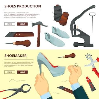 Plantilla de diseño de banners con herramientas de reparación de zapatos.