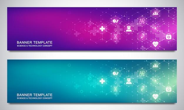 Plantilla de diseño de banners con patrón de hexágonos e iconos médicos. salud, ciencia y tecnología.