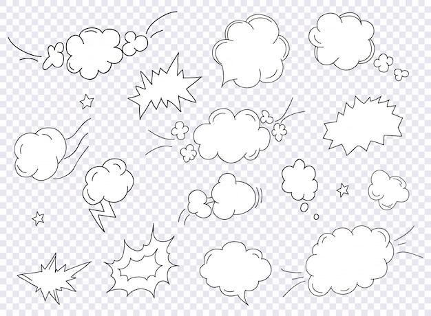 Plantilla de diseño en blanco de estilo pop art comics con vigas de nubes.