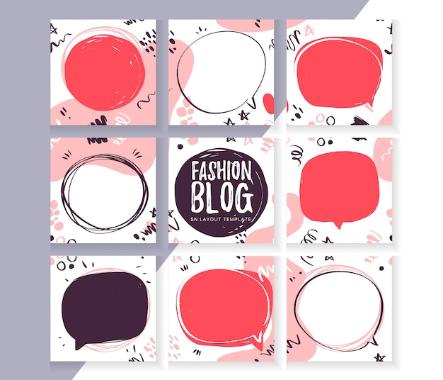 Plantilla para diseño de blog de moda de redes sociales con patrón moderno abstracto y elementos y espacios de texto - burbujas de discurso, marcos. estilo de boceto dibujado a mano. diseño de interfaz de usuario abstracta para aplicación móvil.