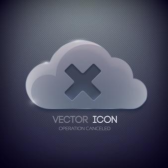 Plantilla de diseño de botón web con nube de cristal y marca x