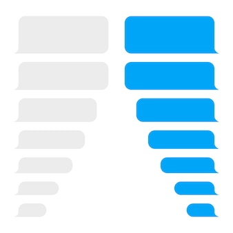 Plantilla de diseño de burbujas de mensaje para chat de mensajería o sitio web.