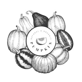 Plantilla de diseño de calabaza. vector ilustraciones dibujadas a mano. telón de fondo de acción de gracias en estilo vintage con cosecha de calabaza. fondo de otoño.