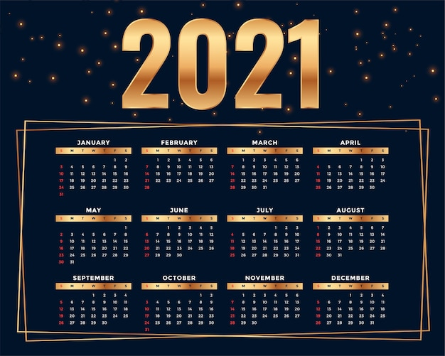 Plantilla de diseño de calendario 2021 de estilo dorado brillante